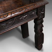 Antique Gothic Bench, Scottish, Oak, Love Seat, Hall Pew, Victorian c.1850 (11 of 12)