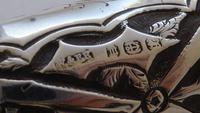 Victorian Walking Stick Cane 1886 Solid Silver Tigers Eye Pommel Ebony Shaft (9 of 11)