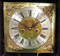 18th Century English Longcase Clock in Oak Case Silver Brass Dial Signed John Taylor (3 of 6)
