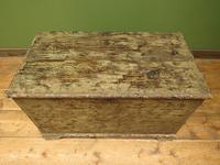 Large Antique Old Painted Green Distressed Pine Trunk Chest, Rustic Blanket Box (2 of 18)