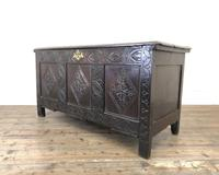 Antique 18th Century Carved Oak Coffer (M-1635) (12 of 13)