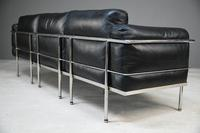 LC3 Style Black Leather & Chrome 3 Seater Sofa (12 of 22)