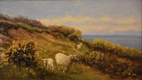 """Oil Painting pair by William Sidney Cooper """"Sheep in a Coastal Landscape"""" (2 of 6)"""