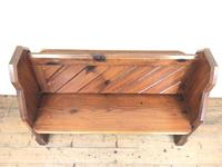 Antique Pitch Pine Church Pew with Enamel Number 28 (2 of 12)
