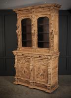 Carved Raw Oak Glazed Bookcase (5 of 21)
