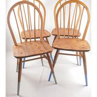 Pair of Ercol Windsor Chairs with Blue Legs (6 of 7)