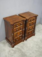 Pair of Victorian Figured Walnut Bedsides (4 of 10)