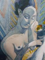 Watercolour Nude with Cat Listed Artist James Gorman (7 of 14)