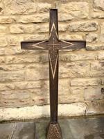 French Bronze Altar Cross Crucifix on Slate Stone Base (3 of 9)