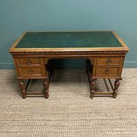Victorian Oak Antique Pedestal Desk Circa 1890 (2 of 9)