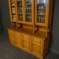 Edwardian Oak Breakfront Bookcase with Open Central Section (7 of 10)