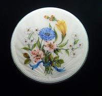 Solid Silver Compact Mirror Floral Enamel 1963 (6 of 8)