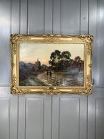 Antique Victorian Landscape Oil Painting In Gilt Gesso Frame Entitled Sunday Evening by R Halfnight (9 of 10)