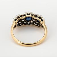 Antique Victorian Gold Sapphire & Diamond Trilogy Cluster Ring c.1880 (2 of 4)