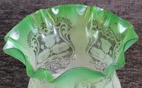 Antique Victorian Green Glass Tulip Oil Lamp Shade Globe (4 of 5)