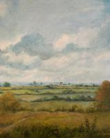 Original 20th Century Vintage English Farmland Country Landscape Oil on Canvas Painting (8 of 14)