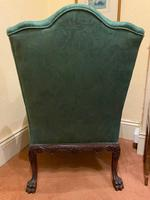 George II Style Solid Mahogany Ornately Carved Wing Armchair (9 of 10)