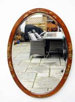 Large Oval Edwardian Mahogany Chinoiserie Decorated Mirror (15 of 16)
