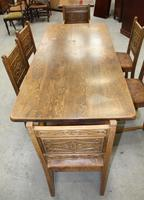 1900's French Oak Refectory Table with Set 6 Oak Chairs +Leather Embossed Seats. (4 of 9)