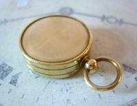 Vintage French Pocket Watch Chain Compass Fob 1940s Chunky Brass Drum Case Fwo (7 of 10)