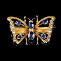 Antique Victorian Sapphire Pearl Butterfly Brooch 15ct Gold 1.20ct Sapphire Circa 1890 (5 of 5)