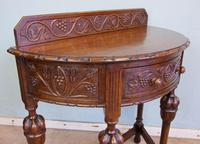 Antique Jacobean Style Carved Oak Demi Lune Side Table (3 of 8)