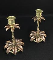 Pair of Brass and Copper Arts and Crafts  WAS Benson Style Antique Candlesticks (4 of 6)