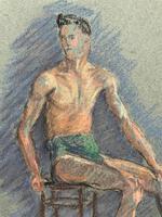 Russian School? Superb 1952 Signed Charcoal Portrait Sketch A Male Model Dancer (7 of 10)