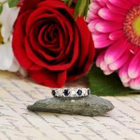 The Vintage 1979 Sapphire & Diamond Half Hoop Ring