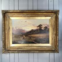 Antique Victorian Large Landscape Oil Painting in Ornate Gilt Gesso Frame Signed H Jones (2 of 10)