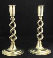 Pair of Victorian Brass Barley Twist Candlesticks (2 of 4)