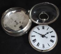 Superb Antique Silver Pair Case Pocket Watch Fusee Verge Escapement Key Wind Enamel Dial Johnson London (5 of 8)
