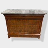 Exceptional Quality Inlaid Marble Top Commode