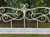 Large French Art Deco Style Fleur De Lis Garden Double Bowed  Curved Bench Seats 3 (33 of 37)