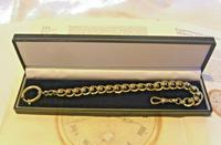 Antique Pocket Watch Chain 1920s Large Chrome Fancy Link Albert with Big Bolt Ring (12 of 12)