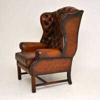 Antique Georgian  Style Leather Wing Back Armchair (7 of 9)