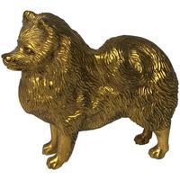 Art Deco Gilt Bronze Spitz Dog Car Mascot Sculpture Signed A G Ward