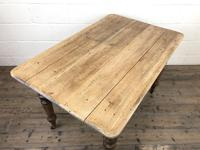 Antique Pine Farmhouse Kitchen Table with Drawer (4 of 13)