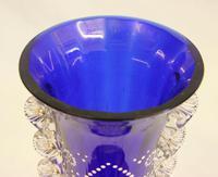 Antique Impressive Bristol Blue Glass Decorated Vase (4 of 7)