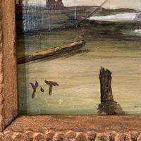 Antique coastal seascape oil painting of fishing boats signed YT (9 of 9)
