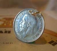 Antique Pocket Watch Chain Fob 1928 Lucky Silver One Shilling Old 5d Coin Fob (2 of 7)