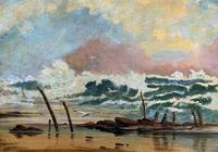 Large Spectacular 19th Century British Seascape Oil Painting - Shipwreck in Rough Seas! (5 of 13)