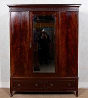 Triple Compactum Wardrobe Flame Mahogany 19th Century (3 of 12)