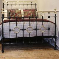 Black Victorian Brass & Iron Bedstead with Brass Circles (11 of 11)