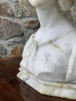 Alabaster Bust of Young Girl Wearing a Bonnet (8 of 25)