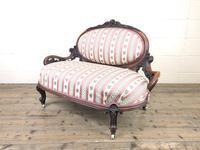 Small Victorian Walnut Frame Salon Sofa Settee (3 of 9)