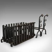 Antique Fire Basket, Andirons, Cast Iron, Fireside, Grate, Fire Dogs, Victorian (6 of 9)
