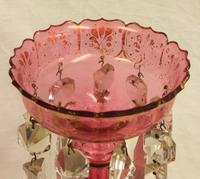 Antique Victorian Cranberry Glass Mantle Lustre (8 of 11)