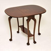 Antique Burr Walnut Drop Leaf Dining Table (11 of 11)
