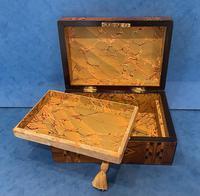 Victorian Walnut & Tunbridge Ware Jewellery Box (11 of 11)